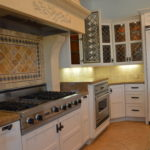 "Repair and paint dark "" antiqued"" cabinets semi - gloss white"