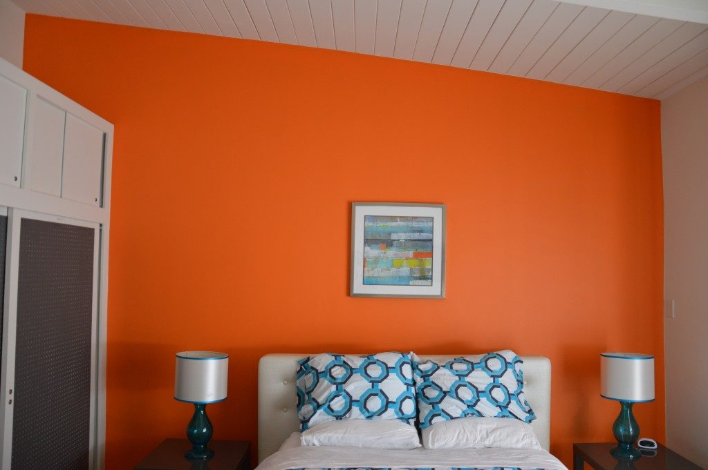 Orange white combo bedroom